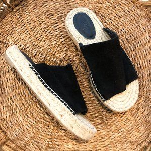 Urban Outfitters Suede Black Slip On Espadrille 8